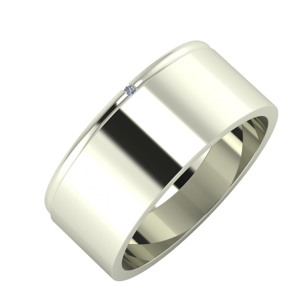 Adalind - Adela 8mm 14 karátos fehér arany karikagyűrű