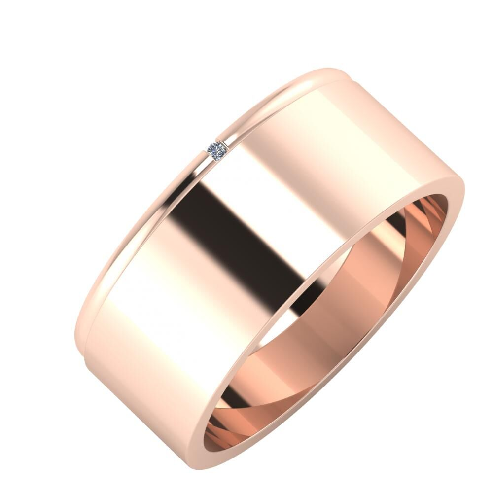 Adalind - Adela 8mm 18 karátos rosé arany karikagyűrű