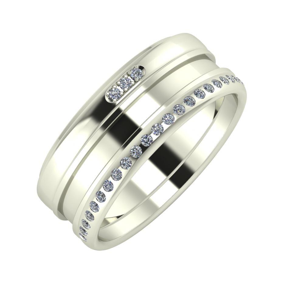 Aleszja - Ajnácska - Aldea 8mm 14 karátos fehér arany karikagyűrű