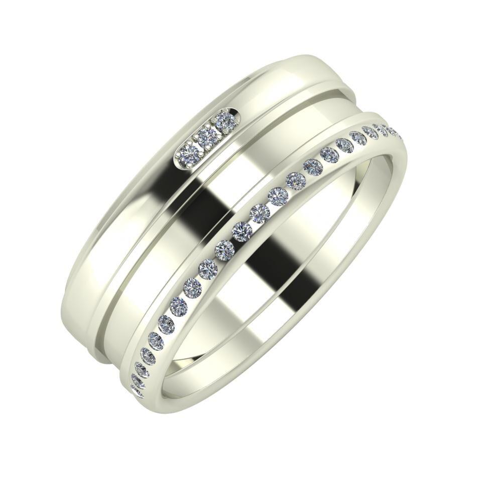 Aleszja - Ajnácska - Aldea 8mm 18 karátos fehér arany karikagyűrű