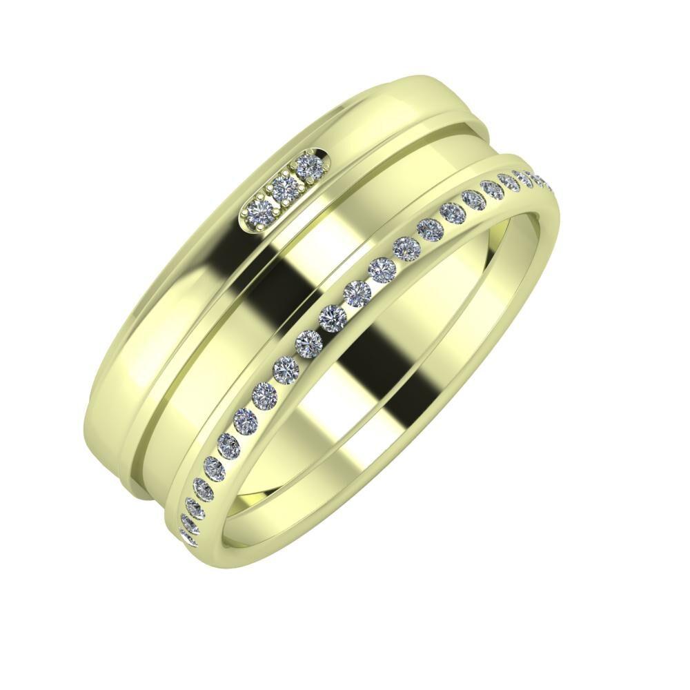 Aleszja - Ajnácska - Aldea 8mm 14 karátos zöld arany karikagyűrű