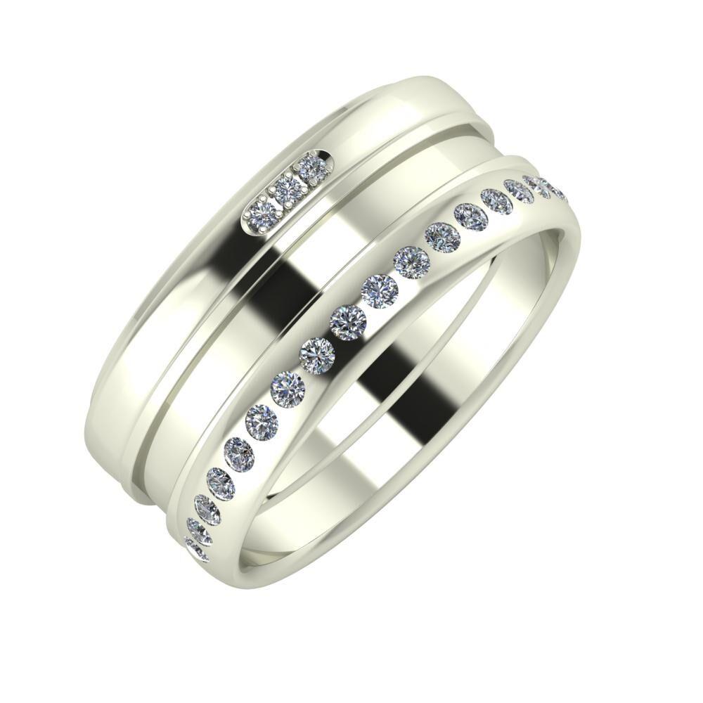 Aleszja - Ajnácska - Aldea 9mm 14 karátos fehér arany karikagyűrű