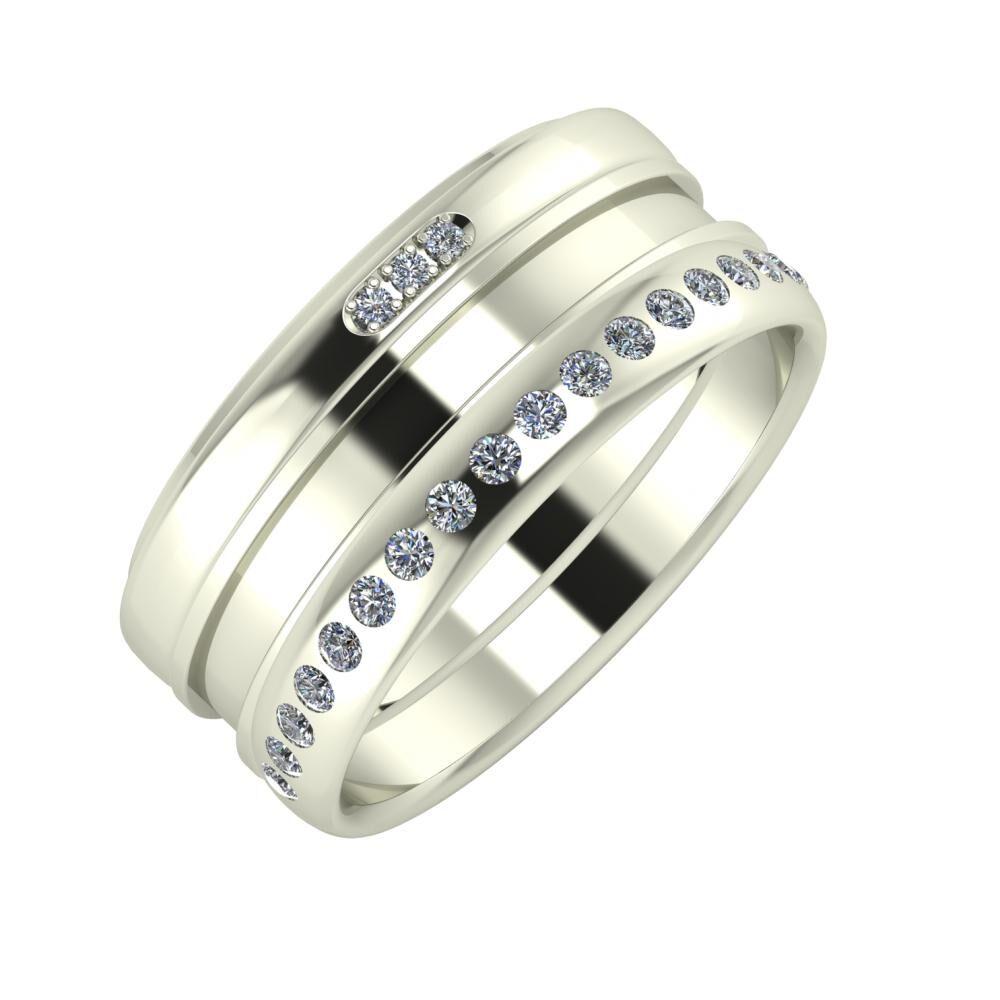 Aleszja - Ajnácska - Aldea 9mm 18 karátos fehér arany karikagyűrű