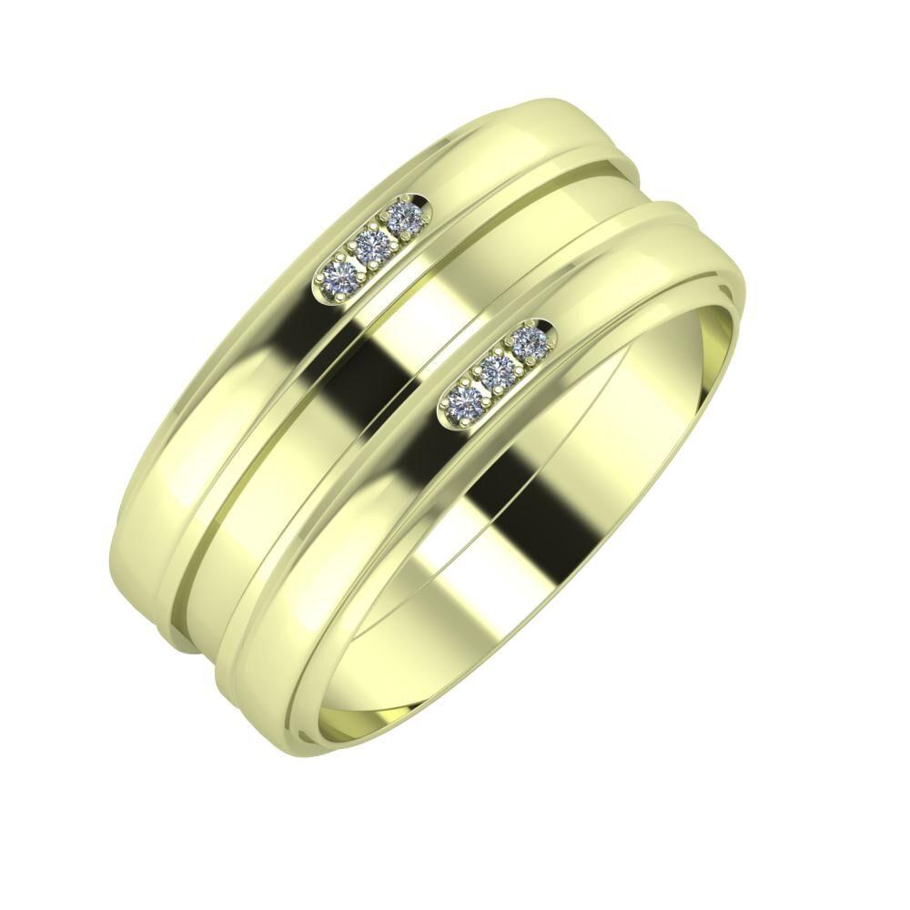 Aleszja - Ajnácska - Aleszja 9mm 14 karátos zöld arany karikagyűrű