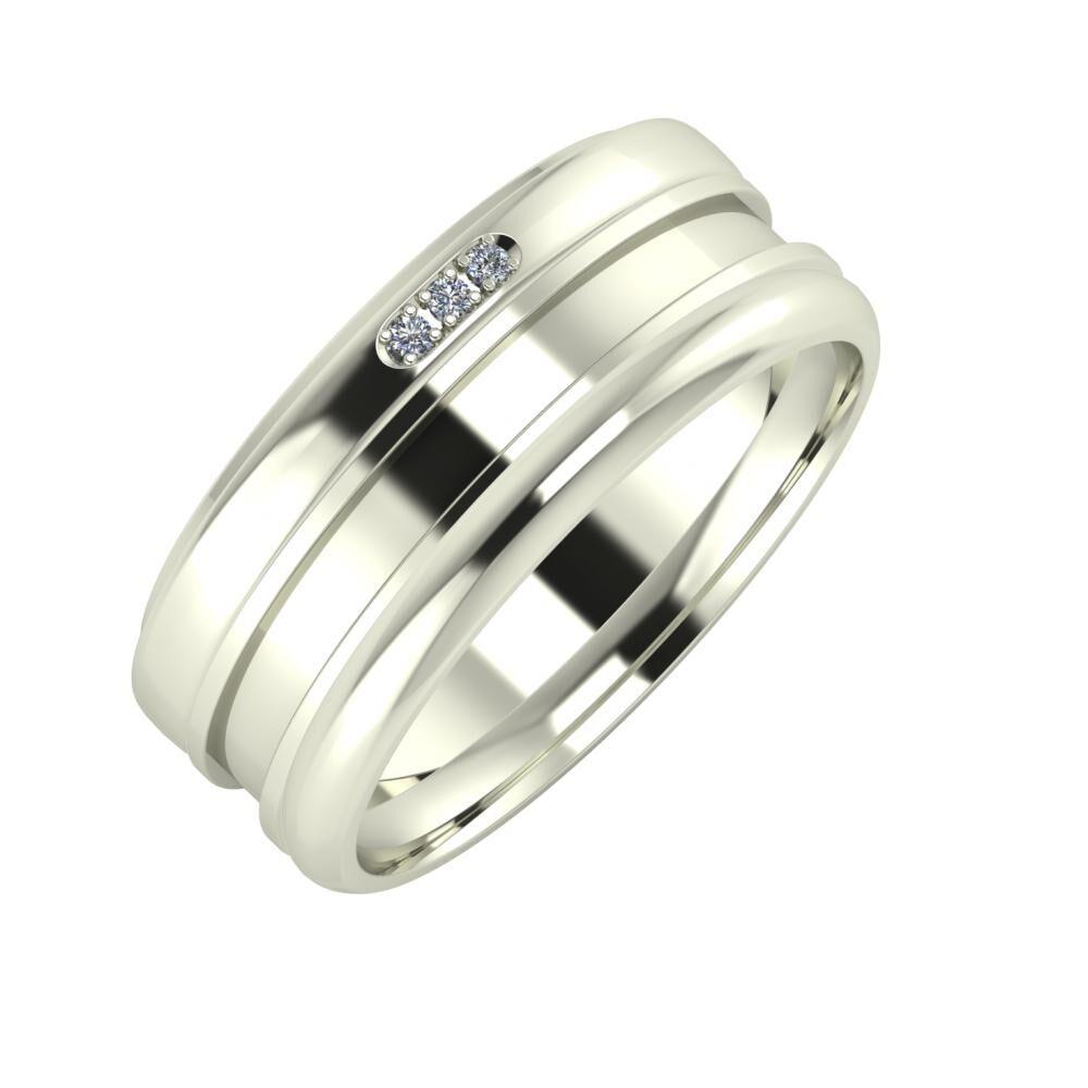 Aleszja - Ajnácska - Alett 8mm 14 karátos fehér arany karikagyűrű