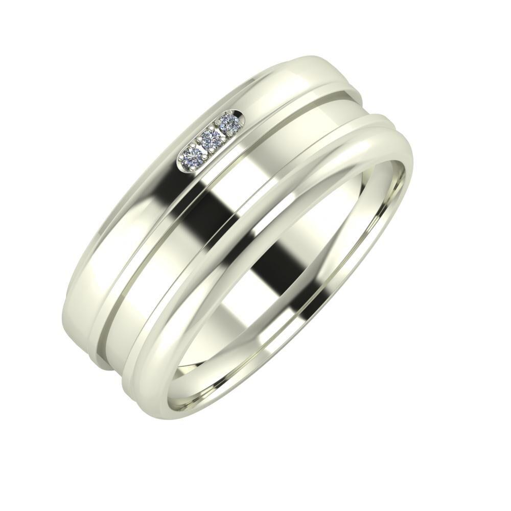 Aleszja - Ajnácska - Alett 8mm 18 karátos fehér arany karikagyűrű