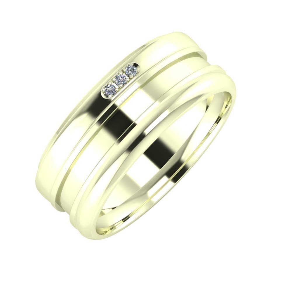 Aleszja - Ajnácska - Alett 8mm 22 karátos fehér arany karikagyűrű