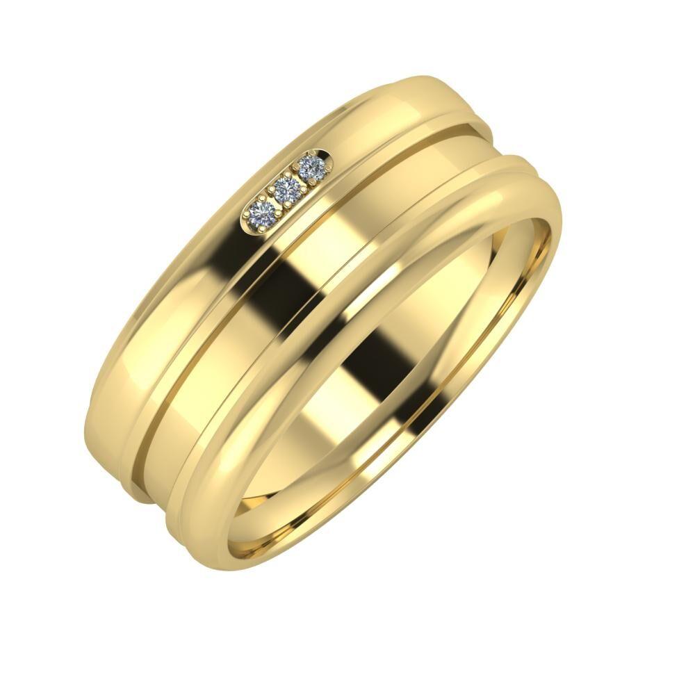 Aleszja - Ajnácska - Alett 8mm 14 karátos sárga arany karikagyűrű