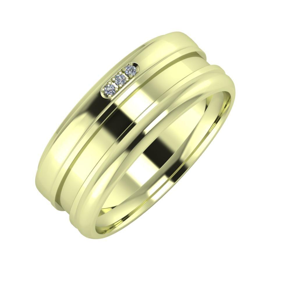 Aleszja - Ajnácska - Alett 8mm 14 karátos zöld arany karikagyűrű