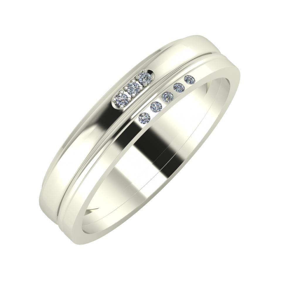 Aleszja - Ajra - Adelgunda 5mm 14 karátos fehér arany karikagyűrű