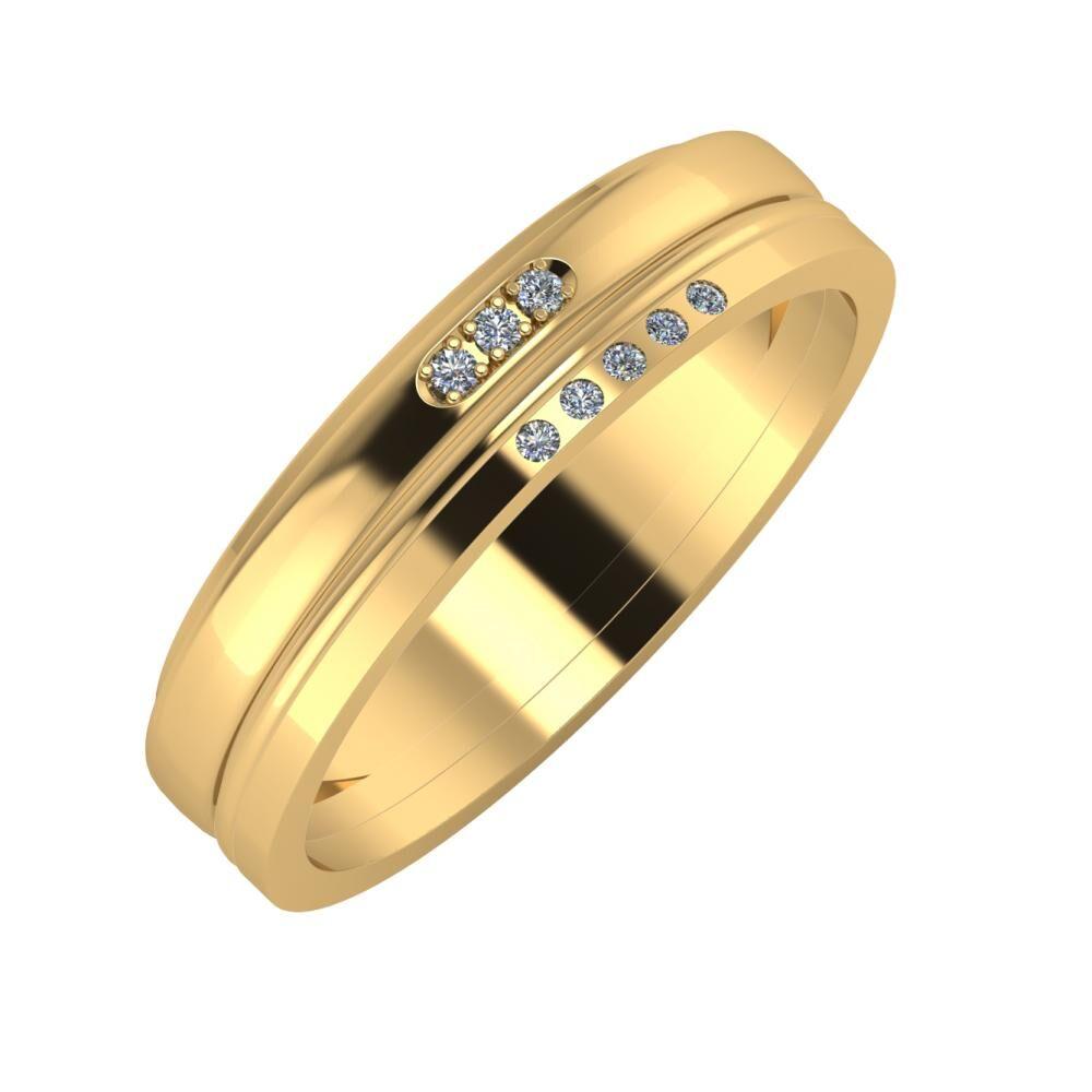 Aleszja - Ajra - Adelgunda 5mm 18 karátos sárga arany karikagyűrű