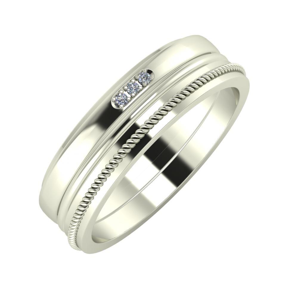 Aleszja - Ajra - Afrodité 6mm 18 karátos fehér arany karikagyűrű