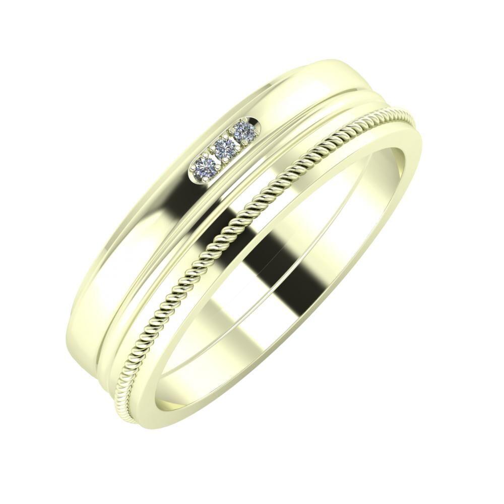 Aleszja - Ajra - Afrodité 6mm 22 karátos fehér arany karikagyűrű