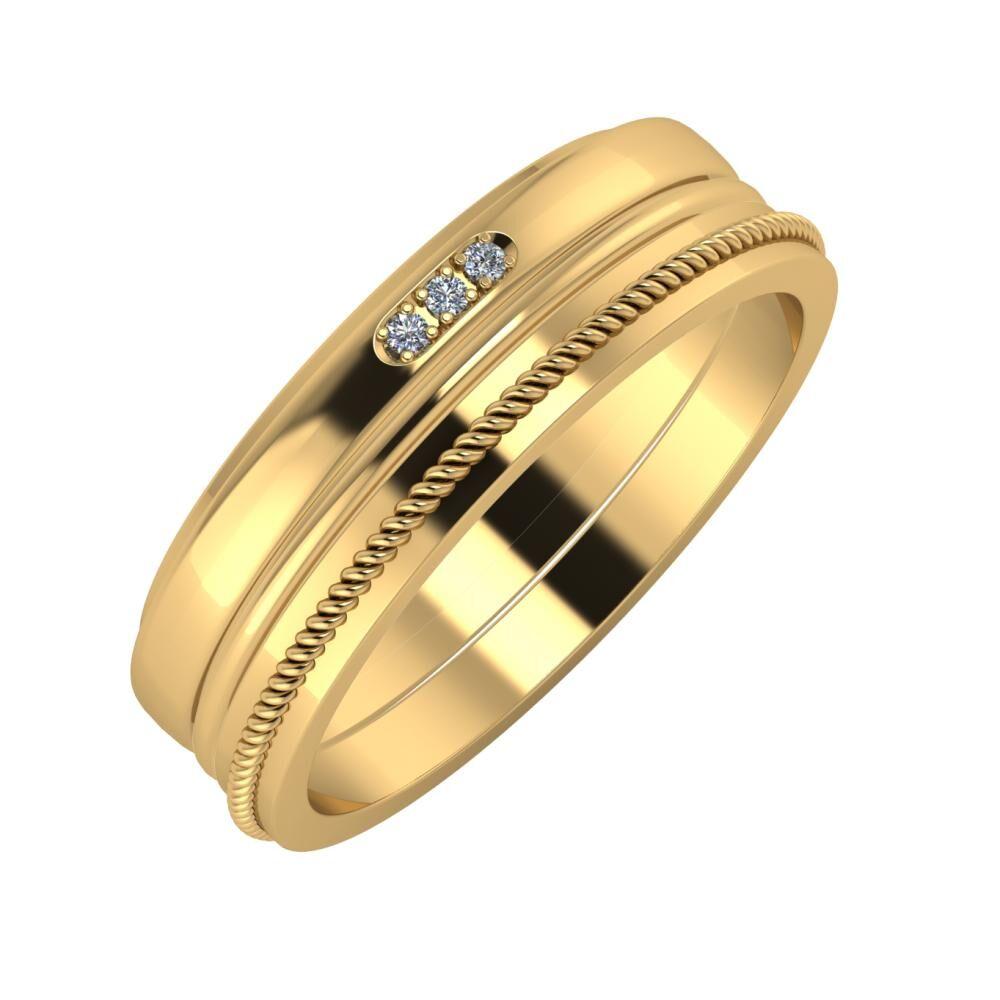 Aleszja - Ajra - Afrodité 6mm 22 karátos sárga arany karikagyűrű