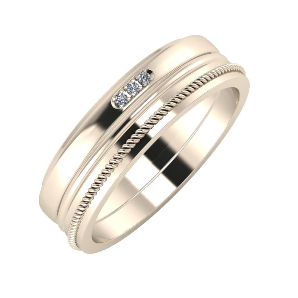Aleszja - Ajra - Afrodité 6mm 22 karátos rosé arany karikagyűrű