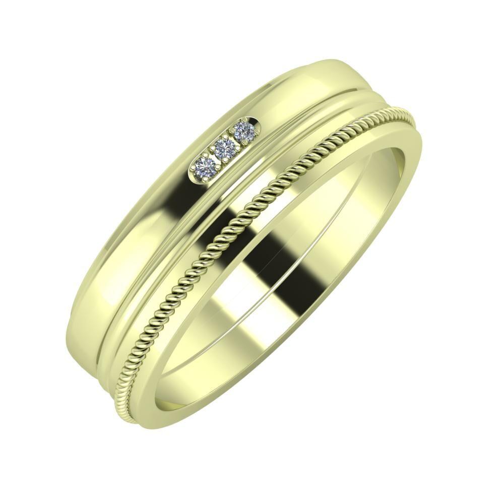 Aleszja - Ajra - Afrodité 6mm 14 karátos zöld arany karikagyűrű