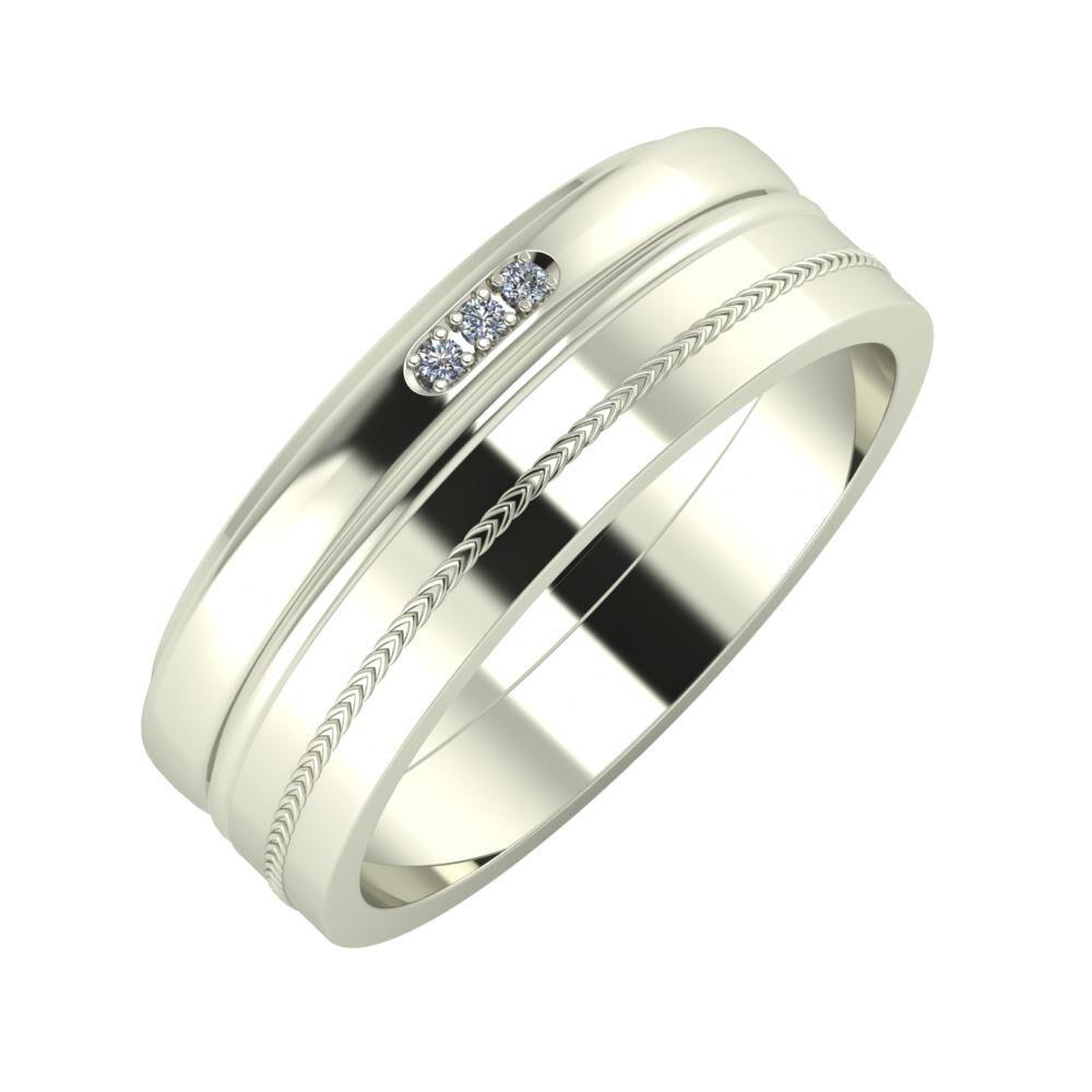 Aleszja - Ajra - Agáta 7mm 18 karátos fehér arany karikagyűrű