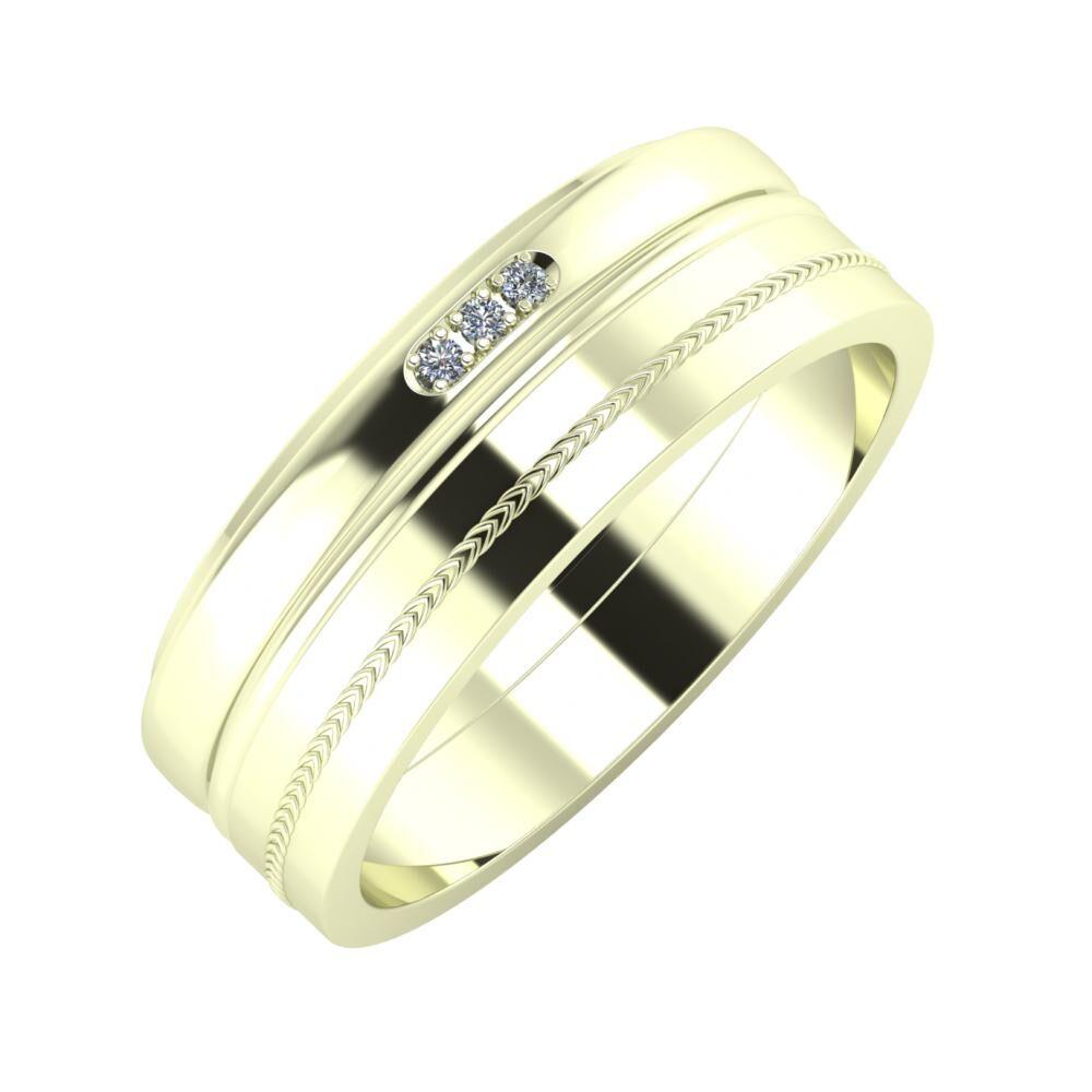 Aleszja - Ajra - Agáta 7mm 22 karátos fehér arany karikagyűrű