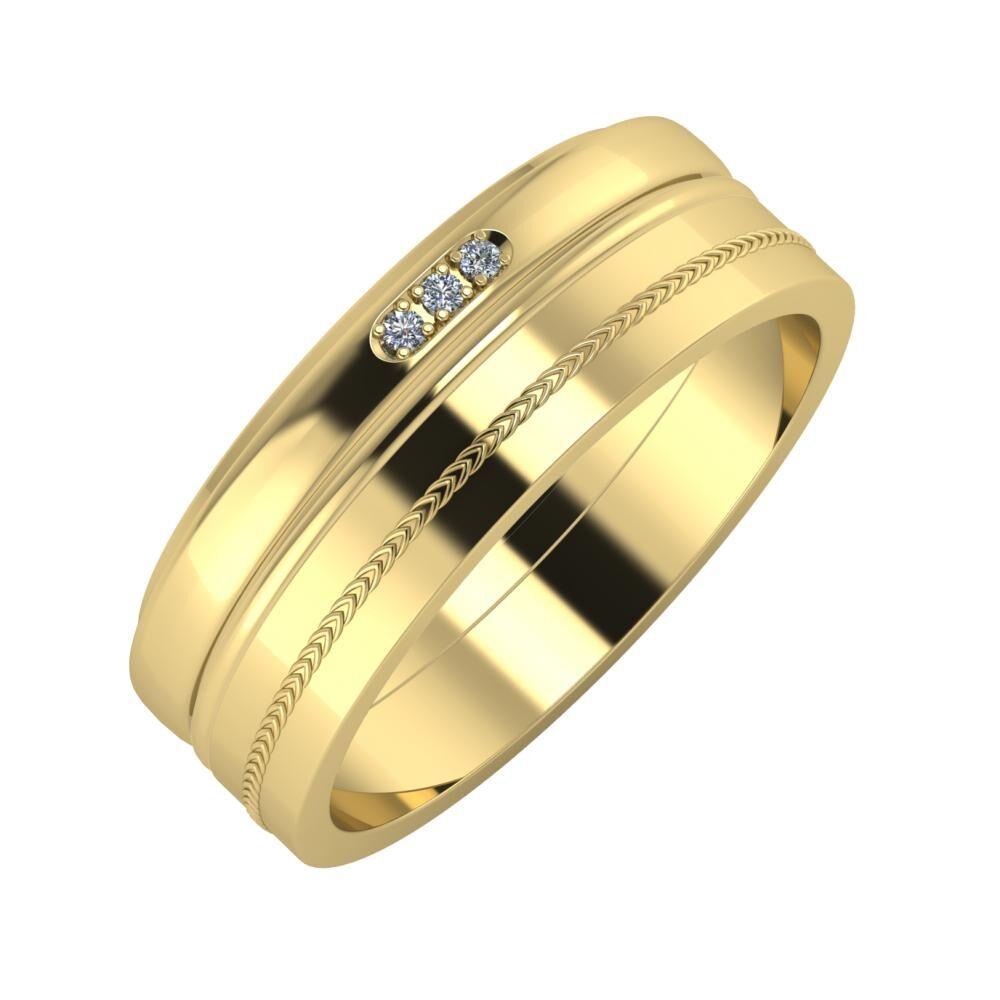 Aleszja - Ajra - Agáta 7mm 14 karátos sárga arany karikagyűrű