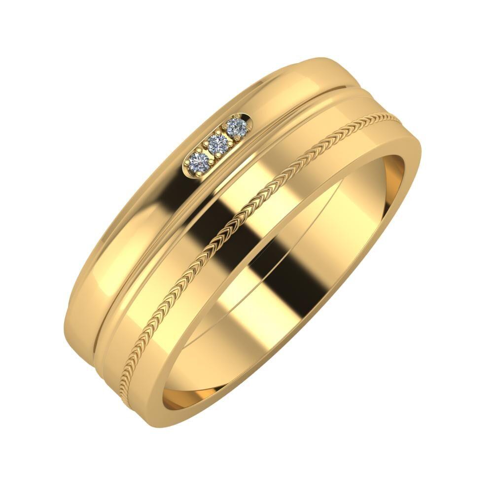 Aleszja - Ajra - Agáta 7mm 18 karátos sárga arany karikagyűrű
