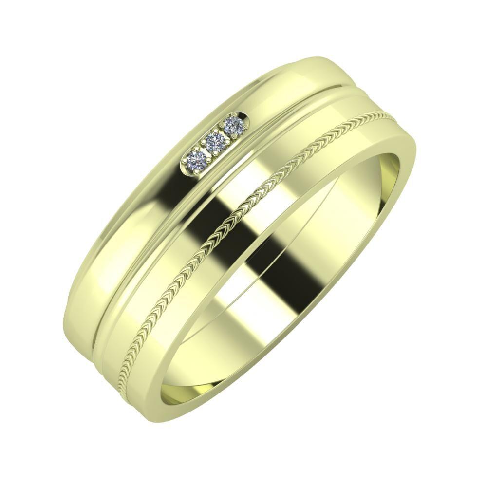 Aleszja - Ajra - Agáta 7mm 14 karátos zöld arany karikagyűrű