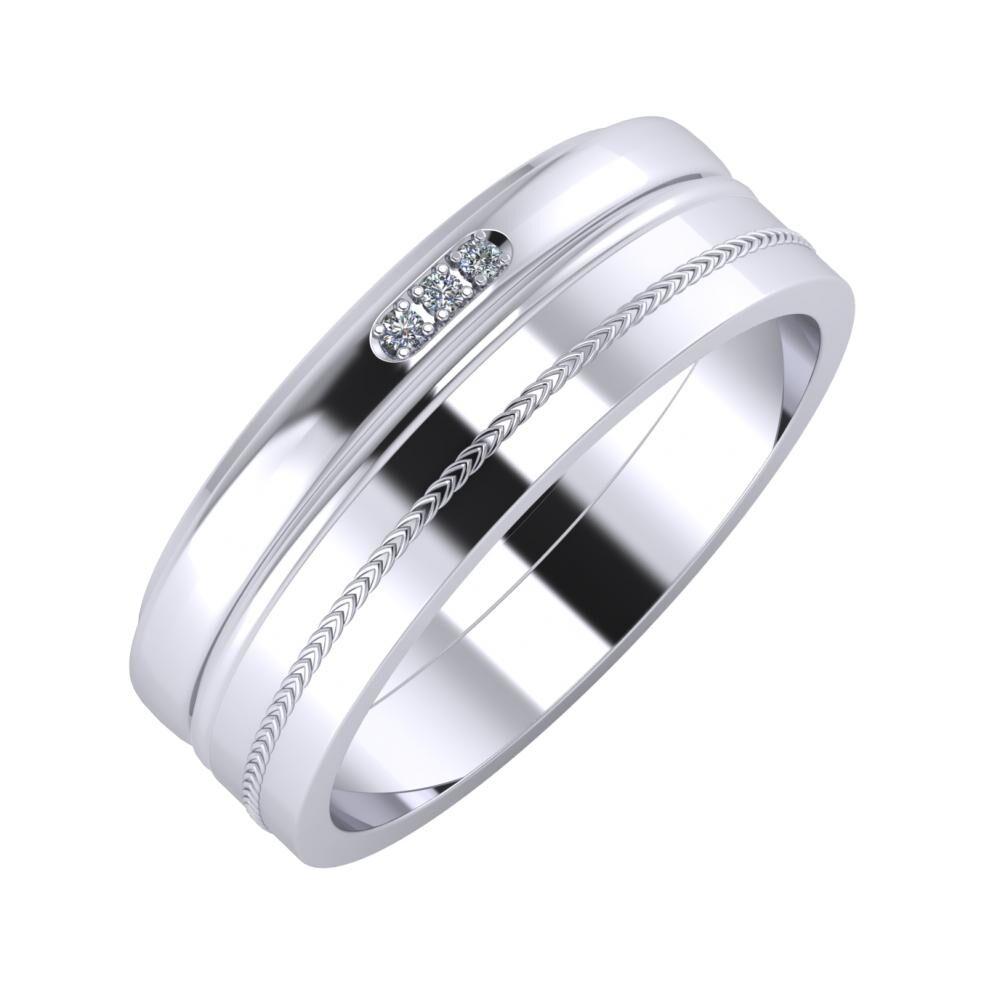 Aleszja - Ajra - Agáta 7mm platina karikagyűrű