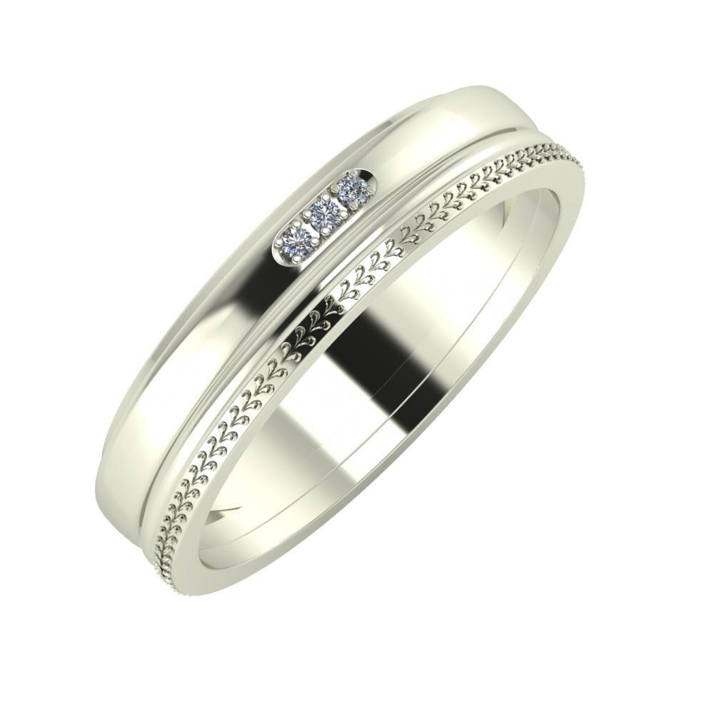 Aleszja - Ajra - Aglája 5mm 18 karátos fehér arany karikagyűrű