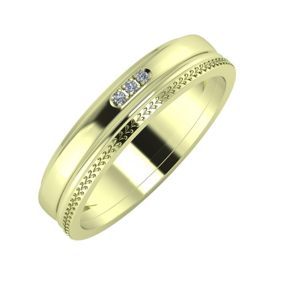 Aleszja - Ajra - Aglája 5mm 14 karátos zöld arany karikagyűrű
