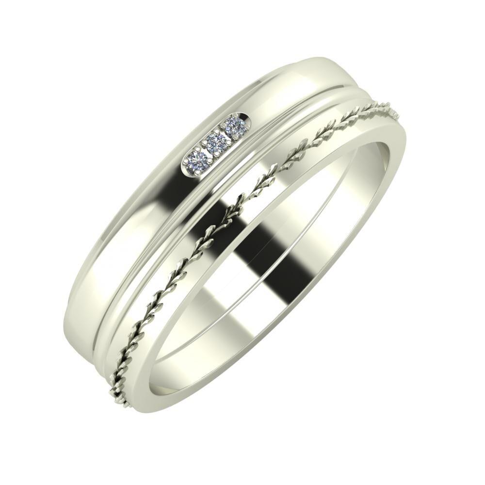 Aleszja - Ajra - Aglent 6mm 18 karátos fehér arany karikagyűrű