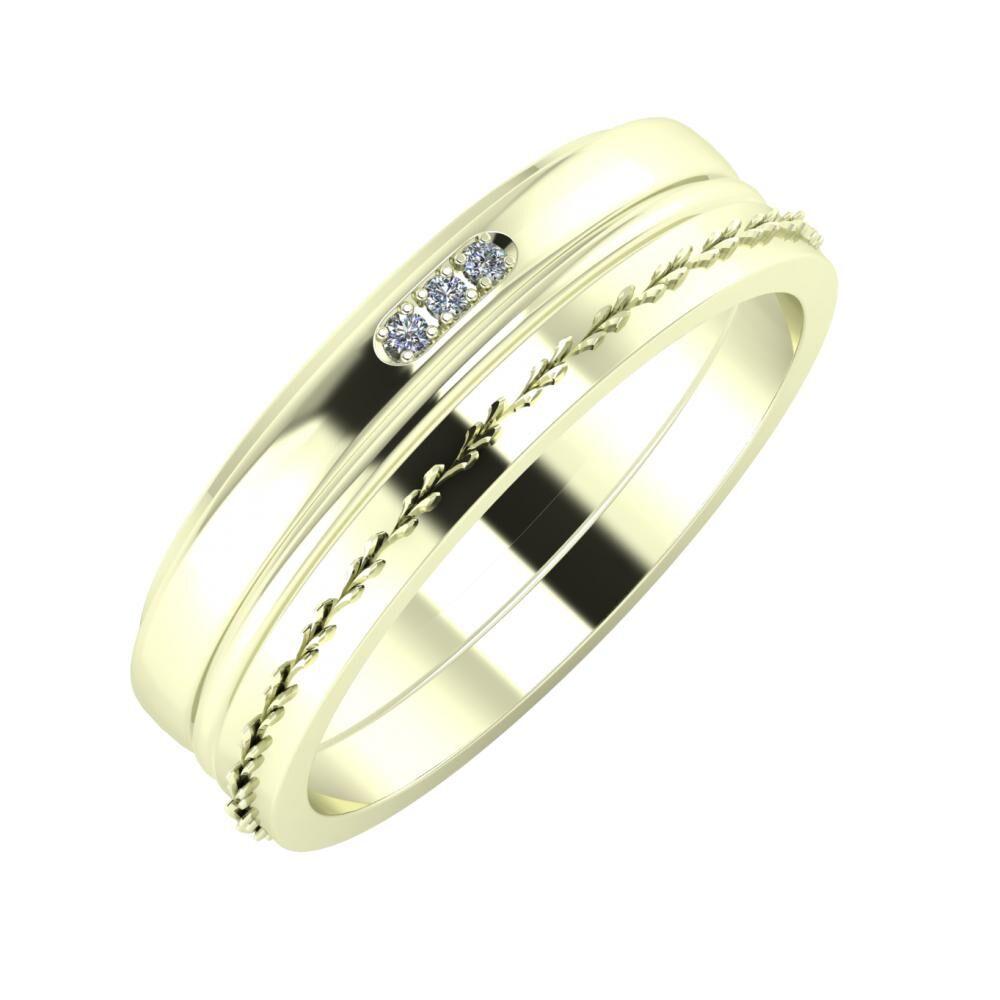 Aleszja - Ajra - Aglent 6mm 22 karátos fehér arany karikagyűrű