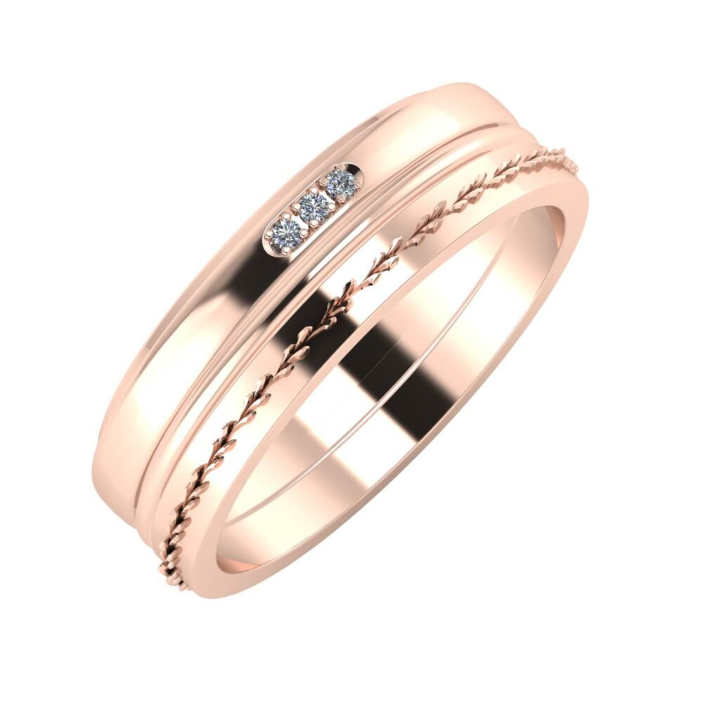 Aleszja - Ajra - Aglent 6mm 18 karátos rosé arany karikagyűrű