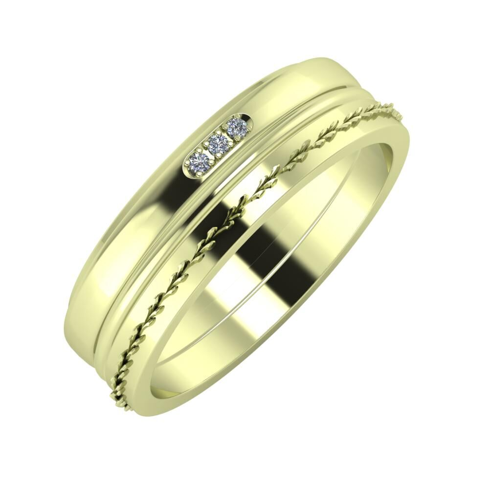 Aleszja - Ajra - Aglent 6mm 14 karátos zöld arany karikagyűrű