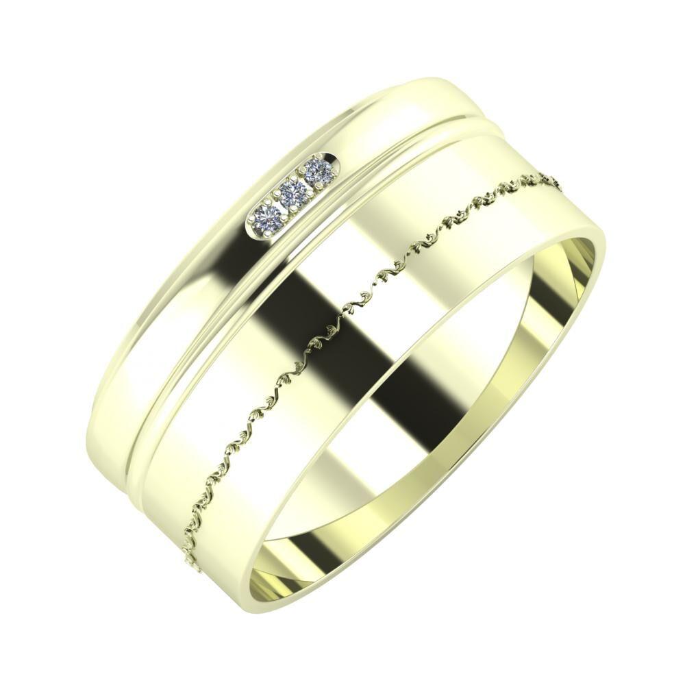 Aleszja - Ajra - Agnabella 9mm 22 karátos fehér arany karikagyűrű