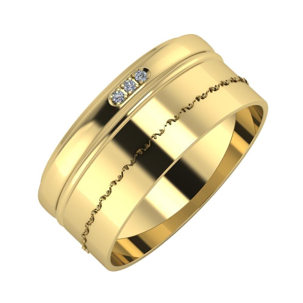 Aleszja - Ajra - Agnabella 9mm 14 karátos sárga arany karikagyűrű