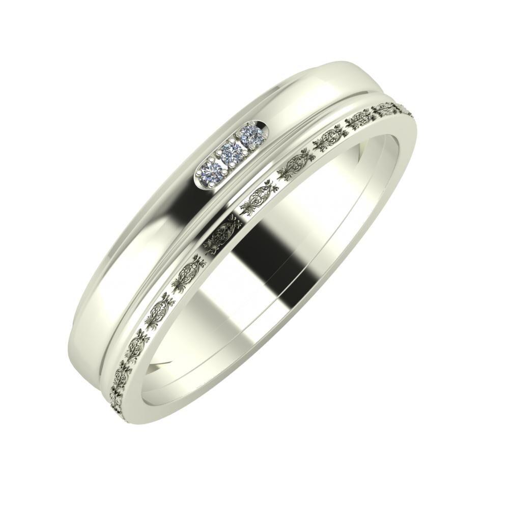 Aleszja - Ajra - Agnella 5mm 14 karátos fehér arany karikagyűrű