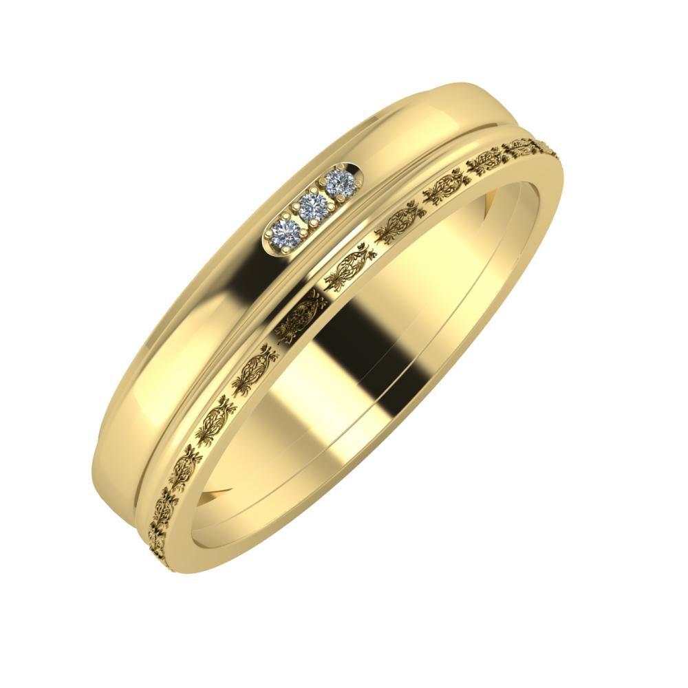 Aleszja - Ajra - Agnella 5mm 14 karátos sárga arany karikagyűrű