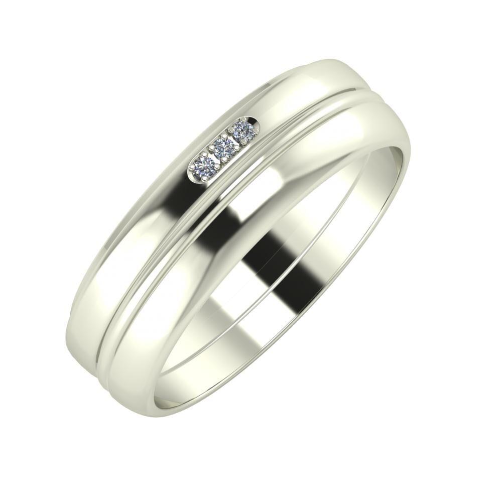 Aleszja - Ajra - Ágosta 6mm 14 karátos fehér arany karikagyűrű