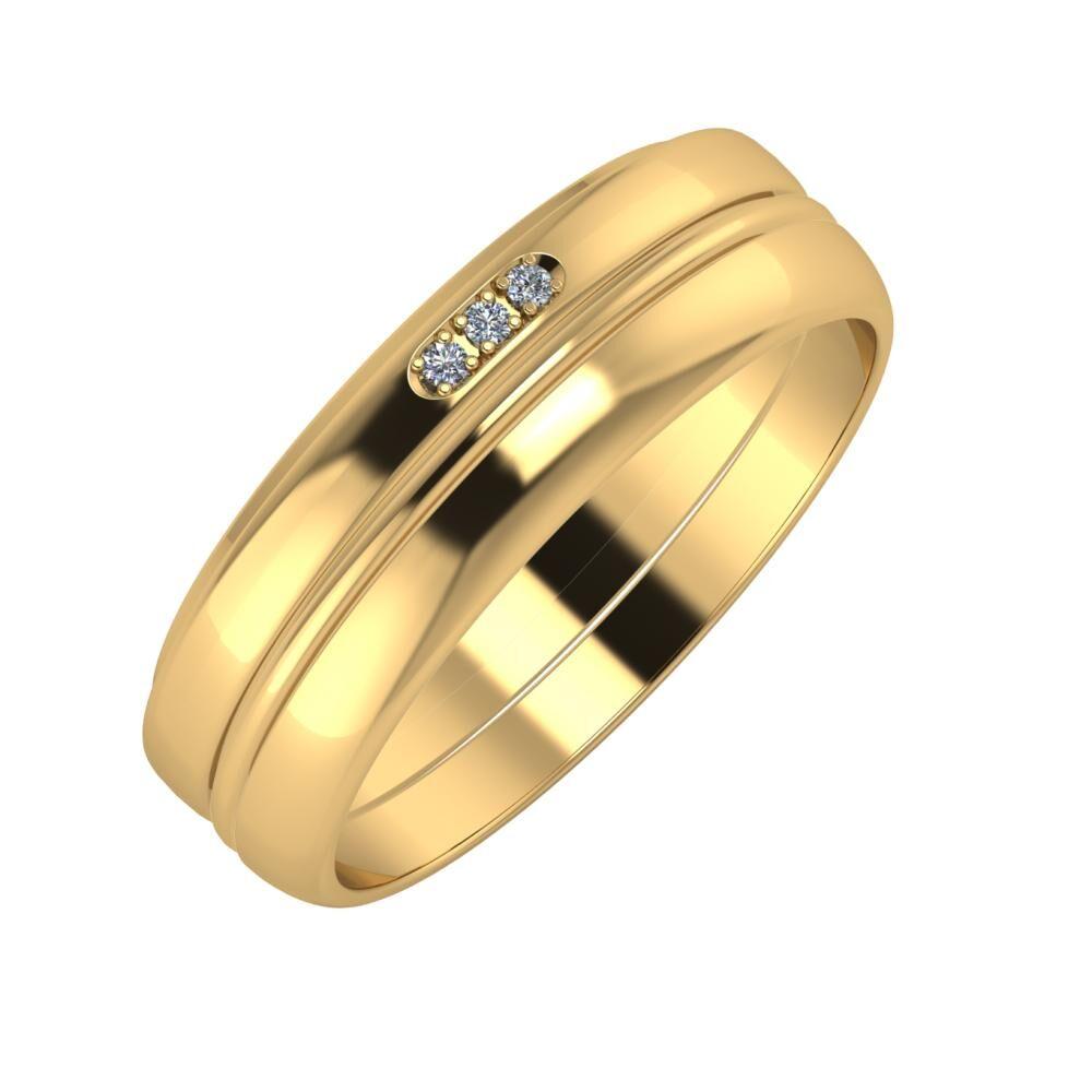 Aleszja - Ajra - Ágosta 6mm 18 karátos sárga arany karikagyűrű
