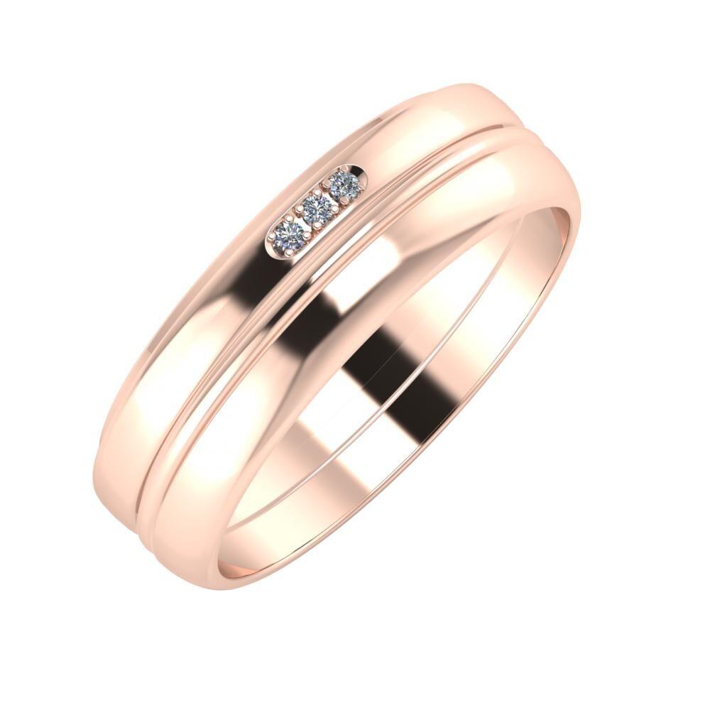 Aleszja - Ajra - Ágosta 6mm 14 karátos rosé arany karikagyűrű