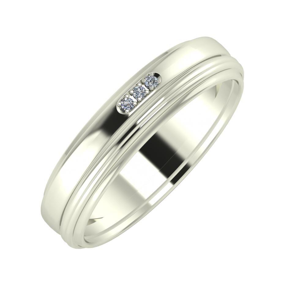 Aleszja - Ajra - Agrippína 5mm 14 karátos fehér arany karikagyűrű