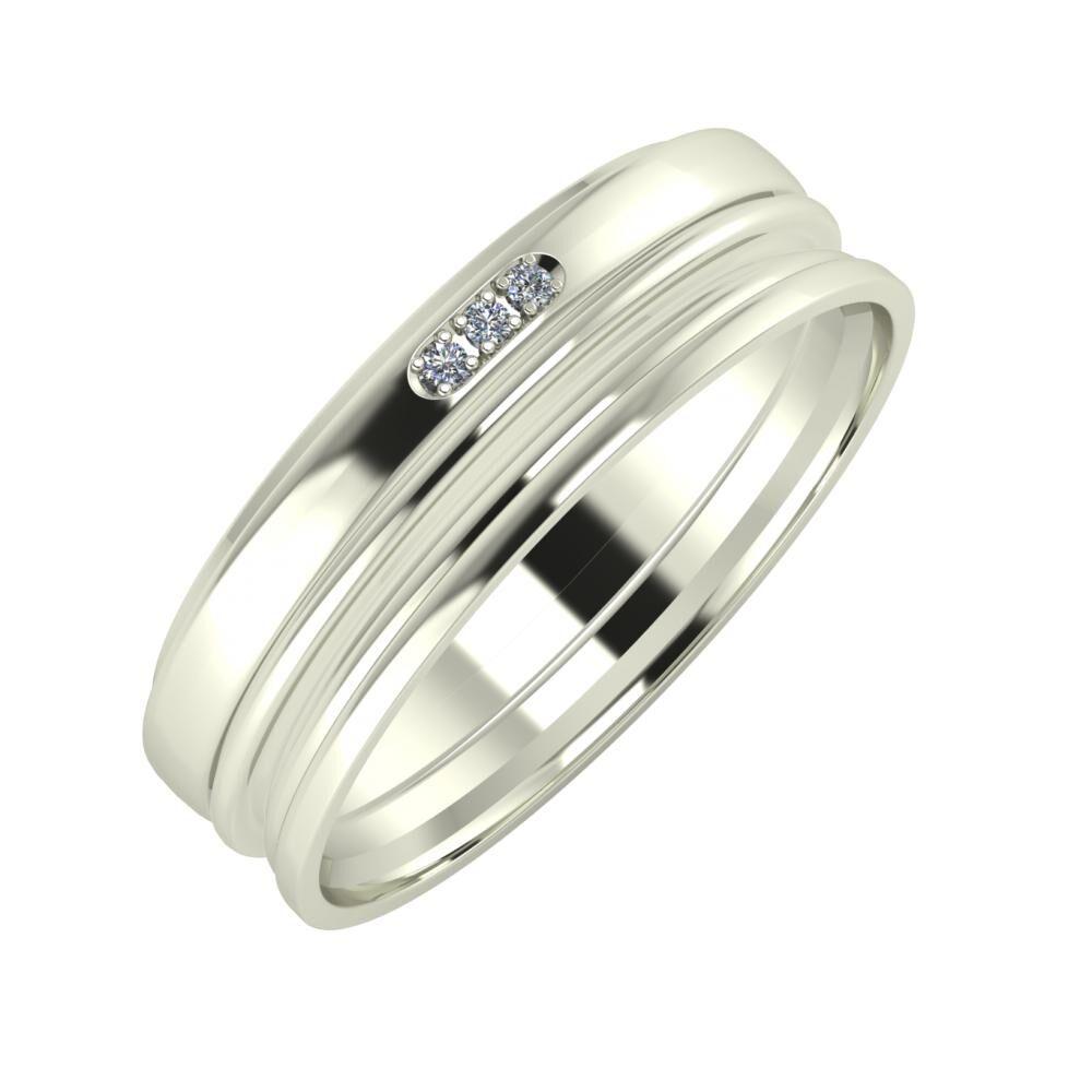 Aleszja - Ajra - Aida 6mm 14 karátos fehér arany karikagyűrű