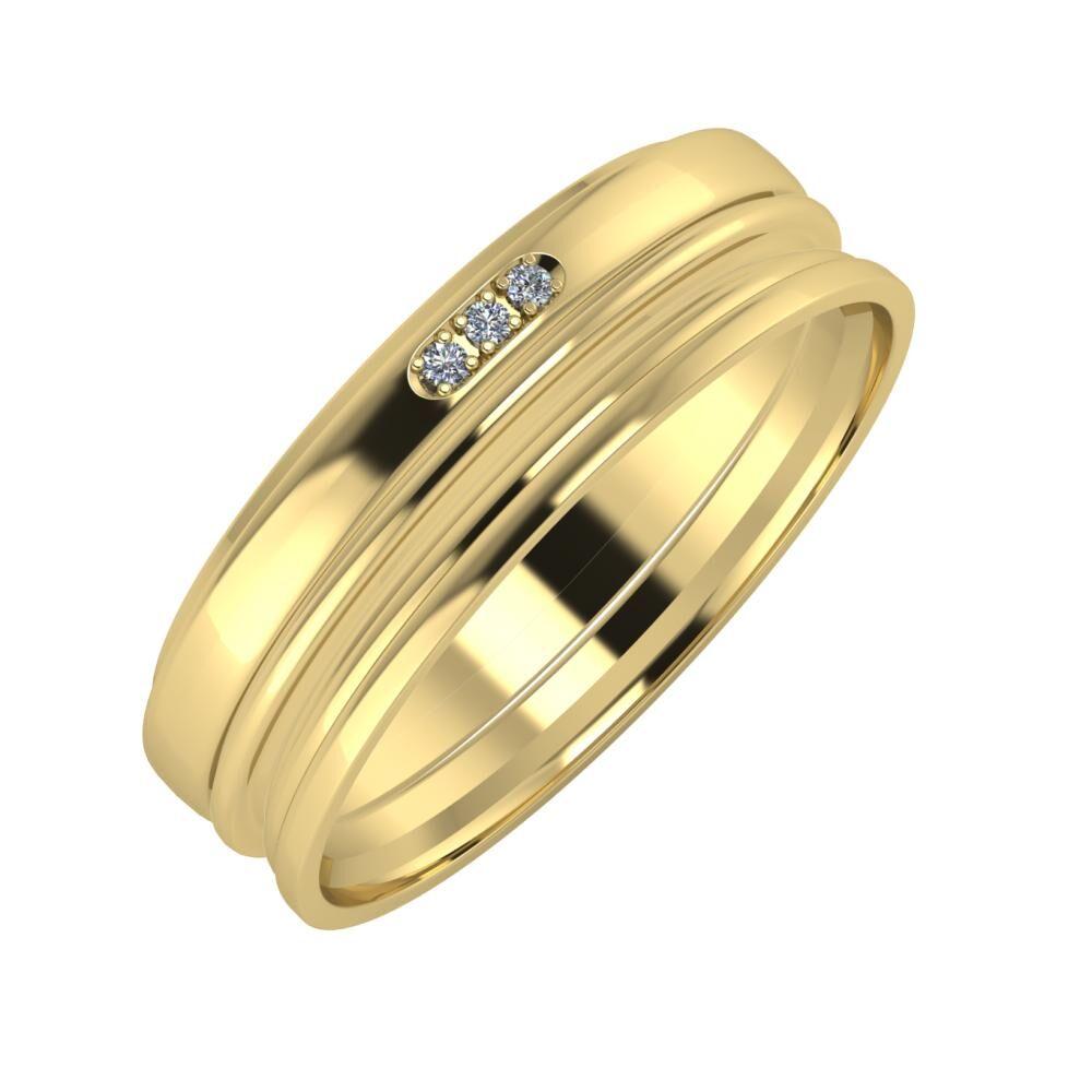 Aleszja - Ajra - Aida 6mm 14 karátos sárga arany karikagyűrű
