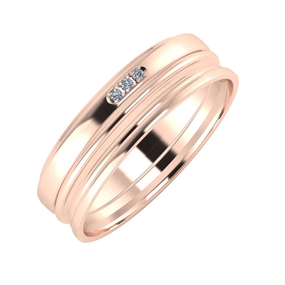 Aleszja - Ajra - Aida 6mm 14 karátos rosé arany karikagyűrű