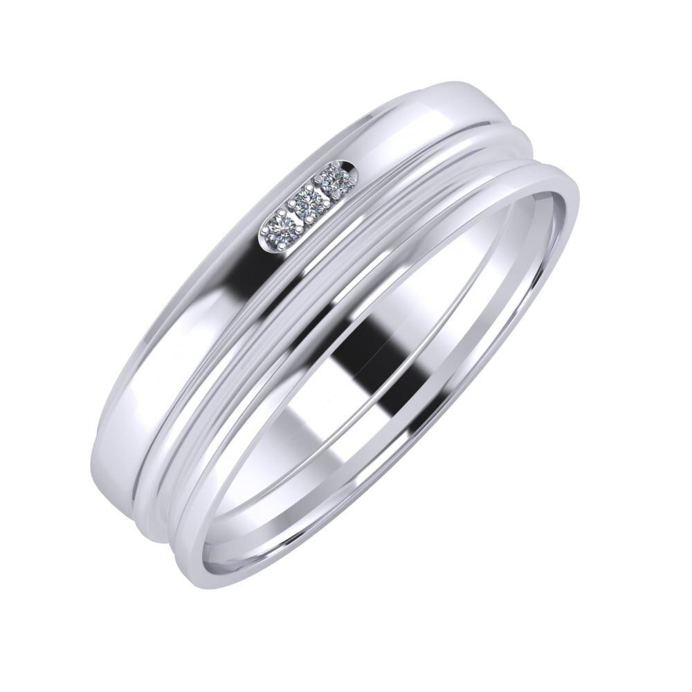 Aleszja - Ajra - Aida 6mm platina karikagyűrű