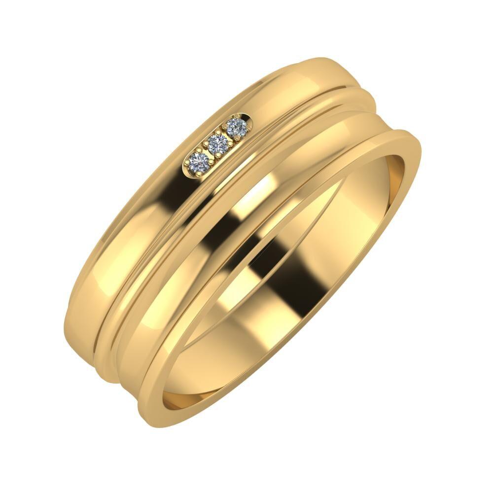 Aleszja - Ajra - Ainó 7mm 18 karátos sárga arany karikagyűrű