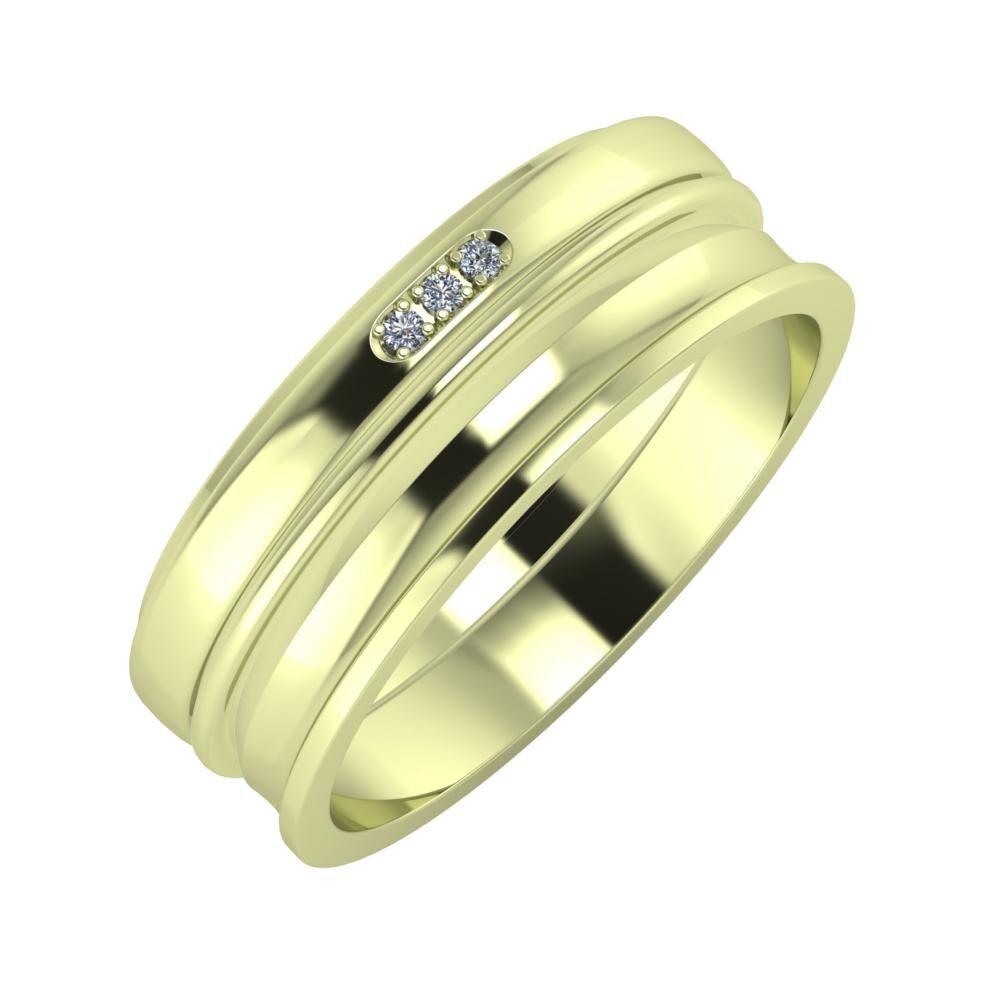 Aleszja - Ajra - Ainó 7mm 14 karátos zöld arany karikagyűrű