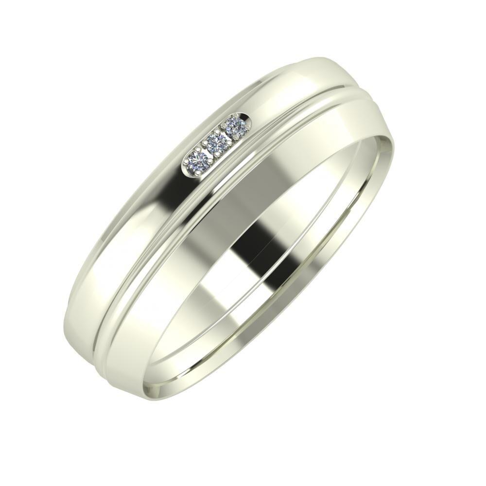 Aleszja - Ajra - Aisah 6mm 18 karátos fehér arany karikagyűrű