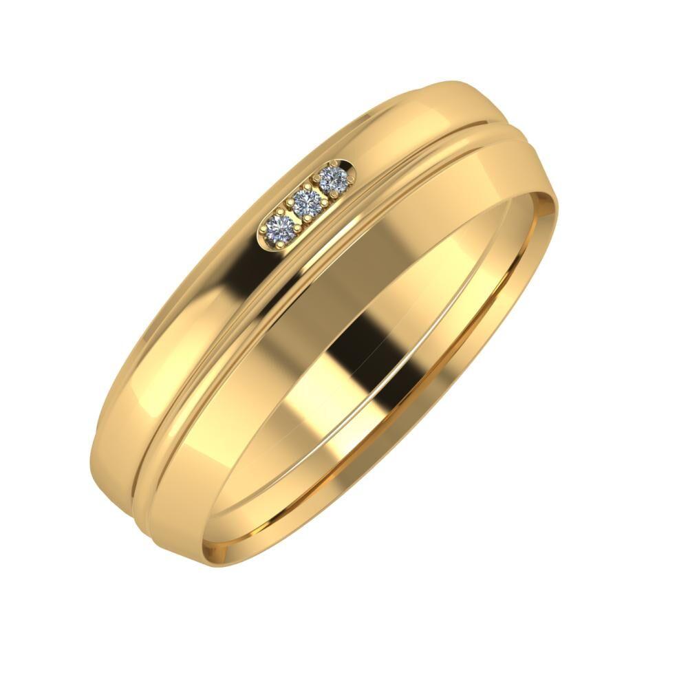 Aleszja - Ajra - Aisah 6mm 22 karátos sárga arany karikagyűrű