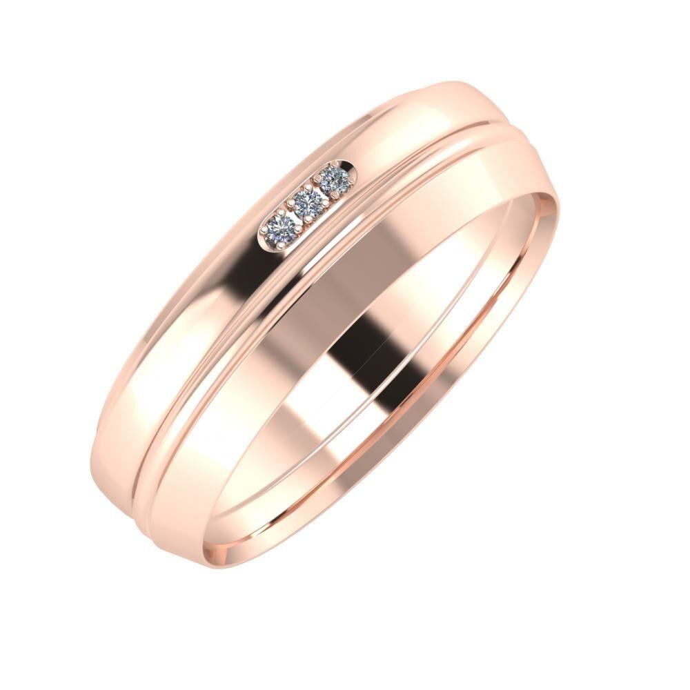 Aleszja - Ajra - Aisah 6mm 14 karátos rosé arany karikagyűrű