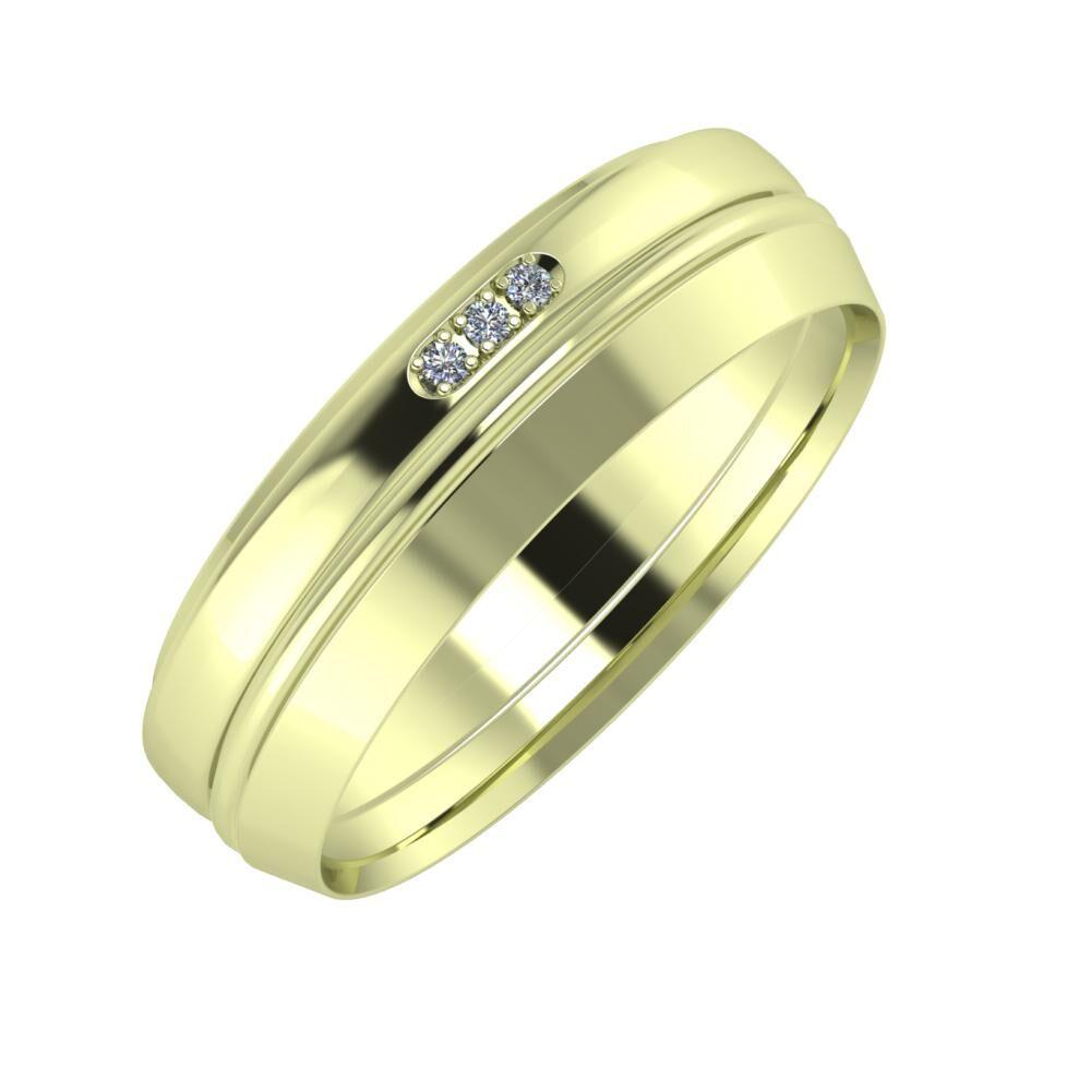 Aleszja - Ajra - Aisah 6mm 14 karátos zöld arany karikagyűrű